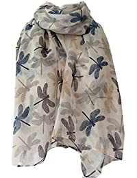 Scarf Ivory Cream with Navy Blue Grey Beige Dragonfly Print, Ladies White Brown Wrap Shawl