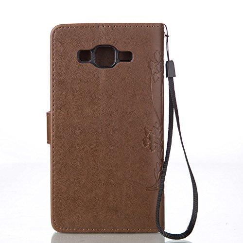 IPhone 6 6S (4,7 Zoll) Case ,Meet de Case papillon print Folio Wallet flip étui en cuir / Pouch / Case / Holster / Wallet / Case pour Apple iPhone SE / 5G / 5S PU Housse / en cuir Wallet Style de couv brun foncé