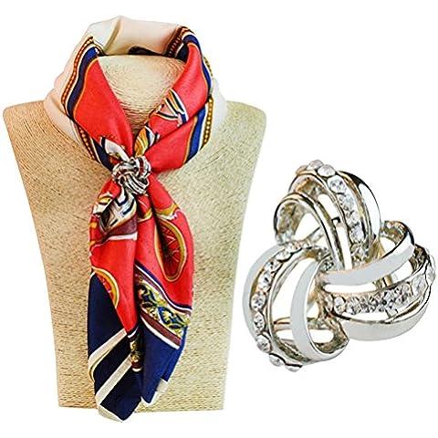 S & saffico elegante tre anello di strass e metallizzato scialli Clip alla moda unisex (Anello Di Diamante Di Modo Cerchio)