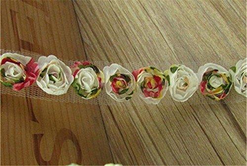 Nastro con rose in chiffon e organza con bordo in pizzo lunghezza 1