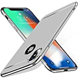 #5: Aeetz® iPhone X Case, iPhone X covers, 3 in 1 Thin Slim Hard Stylish Case Matte Surface with Electroplate Frame, Mobile case for Apple iPhone X (2017) or iPhone 10 - Silver with Silver
