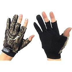 Par de guantes para pescar (3 dedos descubiertos, diseño de camuflaje)