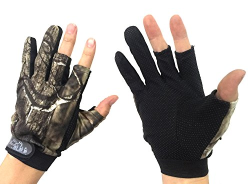 Angelhandschuhe / Jagdhandschuhe mit 3-Finger-Cut, Tarnfarbe, 1 Paar