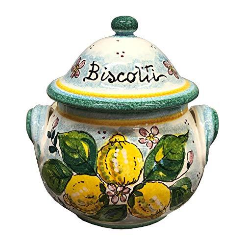 CERAMICHE D\'ARTE PARRINI- Italienische Kunstkeramik, Keksdose Glas, Dekoration Zitronen, handgemalt, hergestellt in Italien Toscana