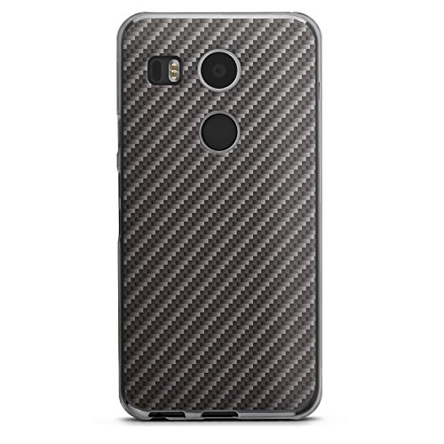Google Nexus 5X Hülle Schutz Hard Case Cover Carbon Look Schwarz Grau Metall