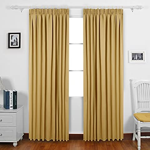Deconovo Solid Rod Pocket Curtains Thermal Insulated Pencil Pleat Blackout
