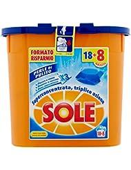 Sole Perle Di Pulito, Detersivo per Lavatrice in Capsule Monodose, Triplice Azione, 26 Lavaggi