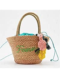 YNNB Hecho a Mano Crochet Tejido Bolso, Moda señoras Paja Bolsos Verano Playa Shopper Cesta