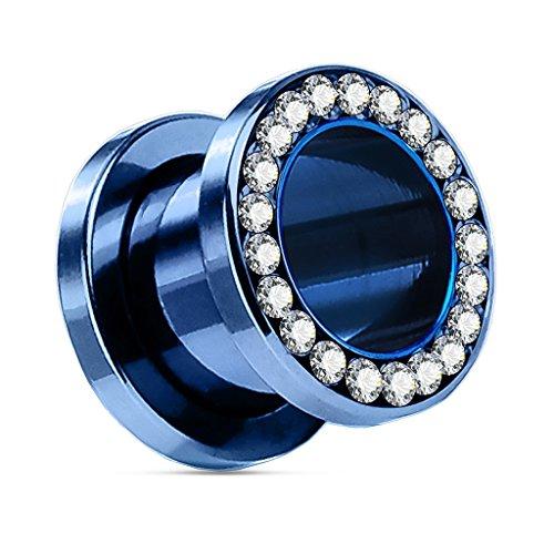 Flesh Tunnel Plug Edelstahl 316L Zirkonia Kristalle Strass Hollow Schraubverschluss blau-klar 8 mm