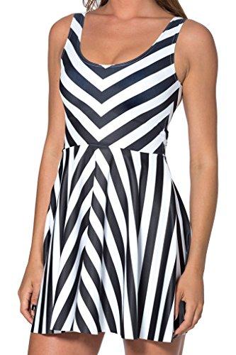JTC Femme Robe Court Sans Manche en Fibre Polyester Seul une Taille Fille noir et blanc