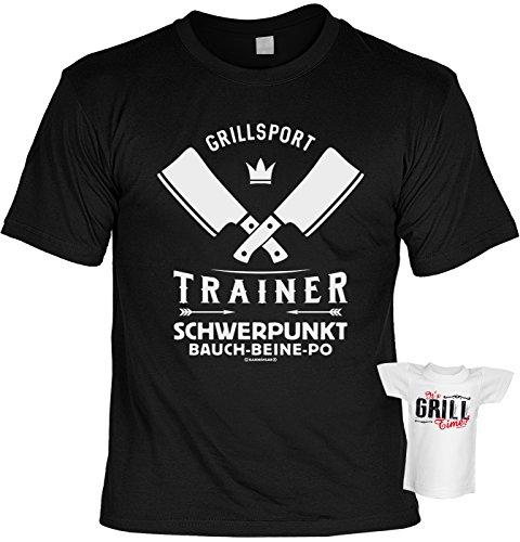 51atFl2YwTL - Tini - Shirts Griller Sprüche-Tshirt - lustiges Grill-Set - Griller Partyshirt : Grillsport Trainer Schwerpunkt Bauch-Beine-PO - Bekleidung Grillen Grill Zubehör + Mini Flaschenshirt Gr: 3XL