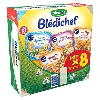 Blédina Blédichef Petites Pâtes Bourguignon/Blanquette de Volaille/Jardinière de Légumes Pâtes/Fondue de Légumes Verts Lieu 2080g (8 x 260g)