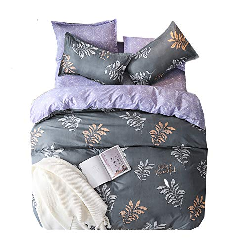 Chickwin set copripiumino biancheria da letto matrimoniale microfibra copripiumino con federe set biancheria da letto foglio arte decorazione