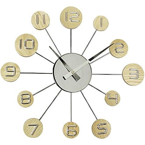 Tiempo de casa reloj de pared con refuerzo de madera Lollipop porras 35 cm marrón