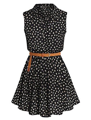 allegra-k-women-daisy-print-sleeveless-unlined-belted-shirt-dress-black-m