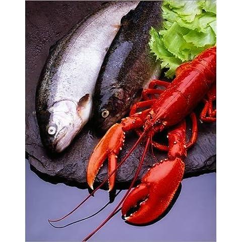 Stampa su tela 100 x 120 cm: Lobster And Trout di The Irish Image Collection / Design Pics - poster pronti, foto su telaio, foto su vera tela, stampa su tela