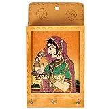 Little Inde Jaipuri Gemstone Porte-clés et courrier peints de couleur crème...