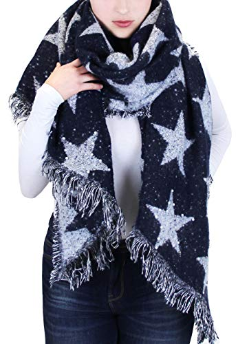 Vanessa & Melissa Flauschiger XXL Damen Schal Großer Warmer Winterschal Kuschelig Weich Perlen Sterne mit Fransen