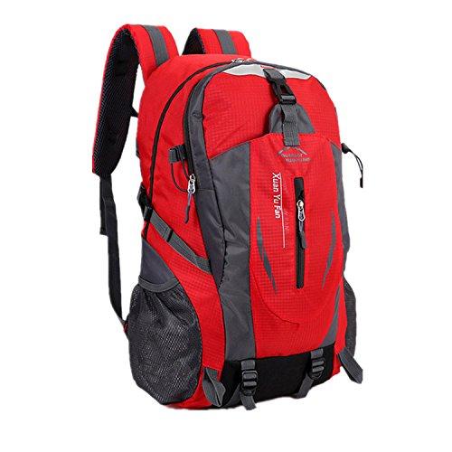haoyk Outdoor Reise Bergsteigen Wasserdicht Sport Wandern Rucksack Große Tagesrucksack Rucksack Rot