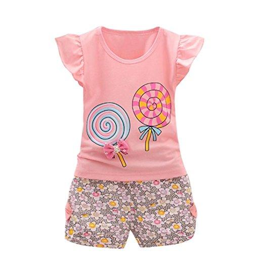 2 STÜCKE Kleinkind Kinder Baby Mädchen Outfits Lolly T-Shirt Tops + Kurze Hosen Kleidung Set Sommer Ärmellos Bowknot Shirt Sunday Mode 100CM (Rosa, 100cm)