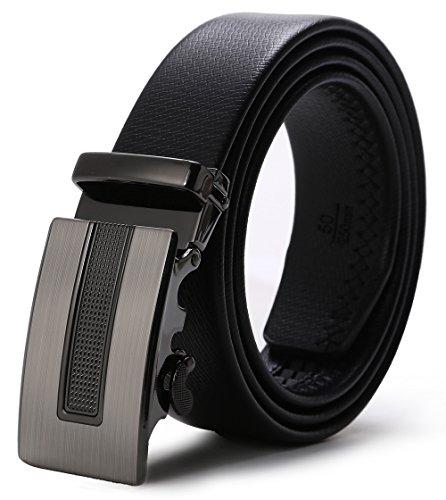 ITIEZY Echtes Leder Gürtel für Männer Ratsche Automatik Gürtelschnalle (Gleitschnalle) 35mm breit, Schwarz 1, Länge: Bis zu 49,21 '(125cm)