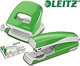 Leitz 5008 NeXXt Series Bürolocher, Metall, bis zu 30 Blatt / Kombi-Set mit Heftgerät + 1000 Klammern extra (hellgrün)