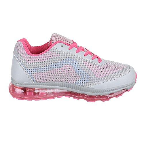 Chaussures femme, 376–5B, les loisirs chaussures sneakers chaussures de sport Gris - Grau Rosa