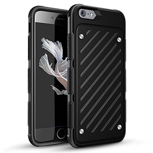 iPhone 6Plus / 6S Plus (5,5-Zoll) Hülle, [Schwert Serie] 2 in 1 Collision Farben Double Layer Stoß- Voller Schutz bunte Handy Hülle Abdeckung (iphone 6Plus/6s Plus, Orange) Black