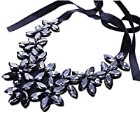 BaZhaHei Trendy Necklace Womens Jewelry Flower Ribbon Chain Short Necklace Pendant Crystal Choker Chunky Collar Necklace Fashion Accessories