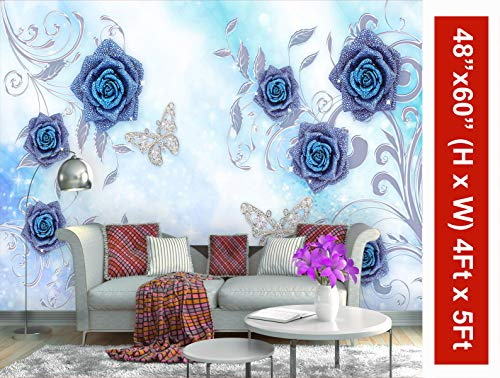 999Store 3D Roses and Water Drop Wallpaper (Non-Wooven_5X4 Feet_Multi)