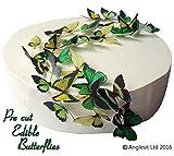 48 x Vorgeschnittene schöne grüne Schmetterlinge essbares Reispapier/Oblatenpapier Kuchendekoration, Dekoration für Cupcake Kuchen Dessert, für Geburtstag Party Hochzeit Babyparty Halloween Ostern (S)