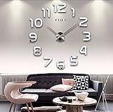Alicemall Reloj de Pared Moderno DIY 3D Adhesivos Números sin Marco Vinilos Reloj Decoración del Hogar Oficina Plata