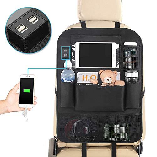 YZCX Portaoggetti Auto Sedile Organizer con 4 Porte di Ricarica USB per iPhone iPad Samsung, Proteggi Sedile per Auto per Bambini - (1 Pezzi)