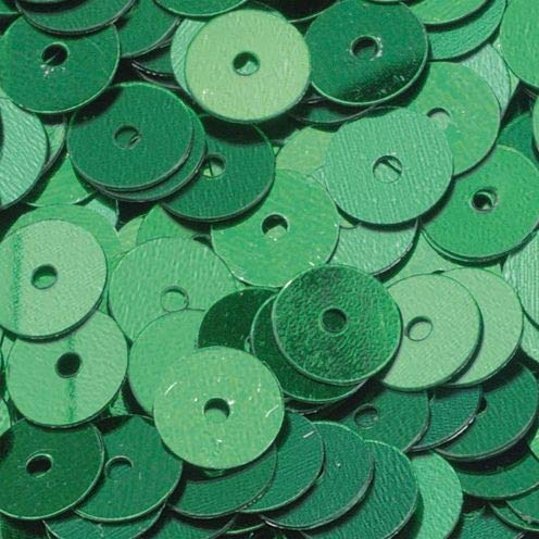 efco rund flach Pailletten, grün, 6mm, 10g, 1000
