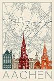 Artland Qualitätsbilder I Poster Kunstdruck Bilder Städte Deutschland Aachen Digitale Kunst Creme E2NI Retro Karte Aachen Deutschland und Skyline