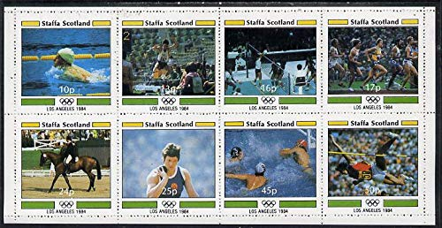 Staffa 1984 Los Angeles Olympics perf set of 8 values (10p to 50p) u/m SWIMMING LONG JUMP VOLLEYBALL RUNNING DRESSAGE SHOT WATER POLO HIGH JUMP JANDRSTAMPS (11307)