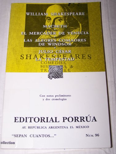 Macbeth el mercader de Venecia/Macbeth The merchant of Venice: Las Alegres comadres de Winsor/Merry wives of Windsor por William Shakespeare