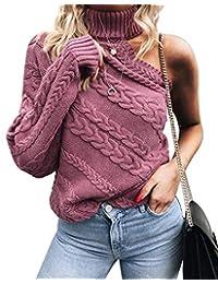 FELICIKK Maglione Dolcevita da Donna Maglione Sexy con Spalle Scoperte  (Color   Pink 3bb8db7b488e