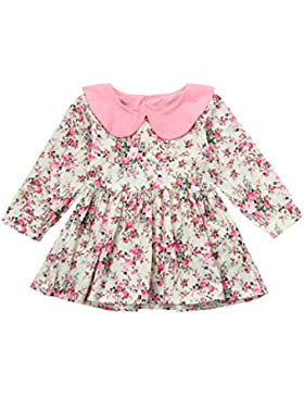 Luckycat Herbst und Winterkleidung für Kinder Kleinkind Baby Mädchen lange Hülsen Blumen Spleiß Kleid Prinzessin...