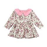 KanLin1986 Abbigliamento per bambini autunnali e invernali Bambino Gils maniche lunghe abito floreale Splice Rrincess sundress vestiti (Rosa, 18M--90cm)