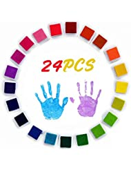 Coussins encreurs, Mture 24 Couleurs Tampon Encreur Encre Empreinte Digitale Pour usage avec Caoutchouc Timbres sur Papier, bon cadeau pour les enfants
