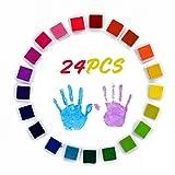 Tamponi per timbri, Infreecs Tampone di Inchiostro per DIY Scrapbooking Pittura per Bambini Uso Su Carta Legno Tessuto Dell'impronta Digitale Timbri di Gomma, Set di 24 colori