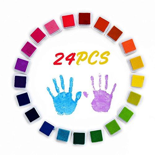 Infreecs Stempelkissen Set 24 Farben, Tinte Pads Stempel, Finger Stempelkissen Bunt Stamp Pad für Papier Handwerk Stoff, Fingerabdruck, Scrapbook, perfekt für Malen mit Kindern, DIY -