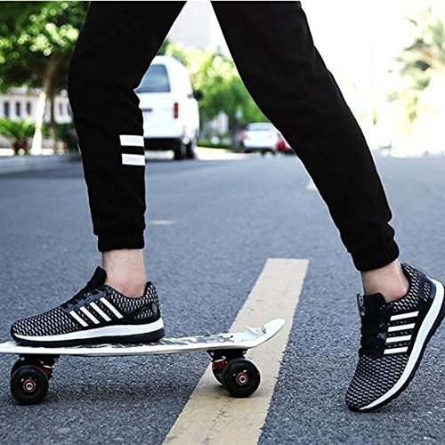 Printemps Et Automne Modèles Chaussures De Sport Respirant Voyage Hommes Chaussures Mode Tendance Flyer Noir Et Blanc
