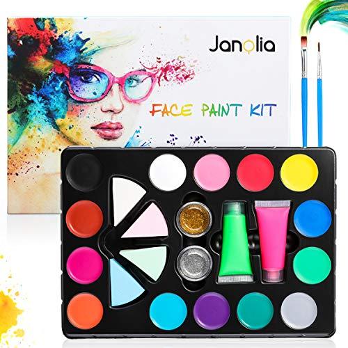 Janolia Gesichtsfarbe Set, Face Paint mit 14 Farben, 2 Fluoreszierendes Pigment, 2 Glitter, 2 Bürsten, Waschbar& Ungiftig, für Kinder und Erwachsene