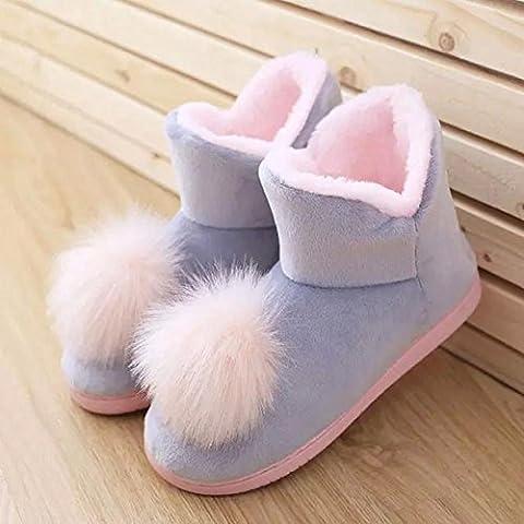 ZZHH zapatillas de algodón Gran bola de niñas de invierno botas zapatos calientes en casa botines rosa . gray . 38-39