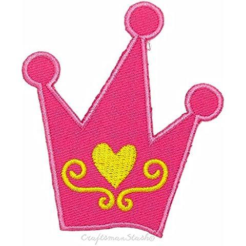 Tales meñique Hada de la princesa de la corona- Fácil y rápida del hierro en, cosa en remiendo bordado - Excelente para apliques, regalo, coleccionable, artesanía, Motif, cabrito del niño del muchacho y de la muchacha del paño de decoración única, arreglar un agujero pequeño / medio de Jean Bolsa y paños de reparación, decoración del