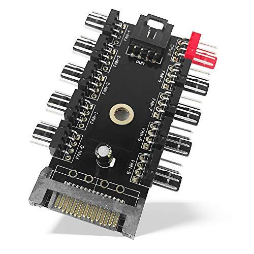 Fan-controller (Fan Hub PWM - 10 PWM Lüfter - SATA Power 4-Pin Fan 10 Port Controller Splitter)