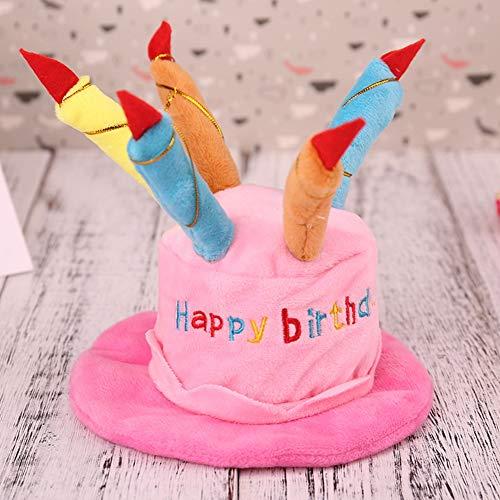 HUNDEBEKLEIDUNG XIA Haustier-Geburtstags-Hut/Haustier-Kopfbedeckung Mit Einem Kuchen Und Kerzen Entwerfen/Haustier-Hund in Der Geburtstagsfeier, Um Eine Glückliche Zeit Zu Genießen,Rosa -