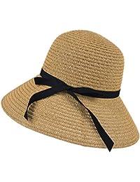 c23a1562fc6 Chinatera Women s Wide Brim Beach Sun Hat Straw Floppy Elegant Cap Outdoor Beach  Cap